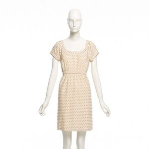 J.Crew short sleeve polka dot dress cream XS